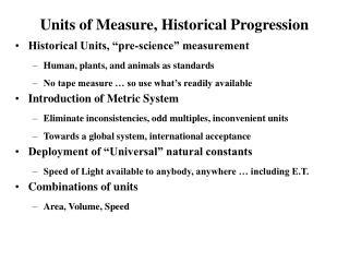 Units of Measure, Historical Progression