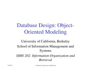 Database Design: Object-Oriented Modeling