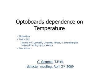 Optoboards dependence on Temperature