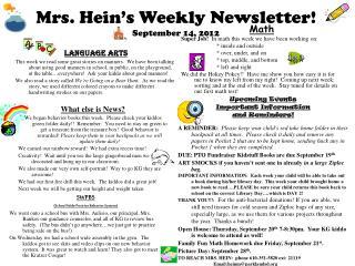Mrs. Hein's Weekly Newsletter! September 14, 2012
