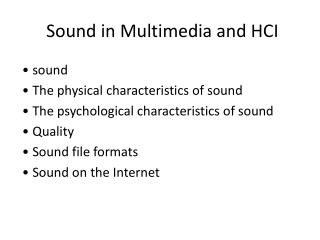 Sound in Multimedia and HCI