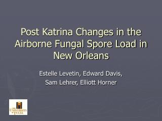 Post Katrina Changes in the Airborne Fungal Spore Load in New Orleans