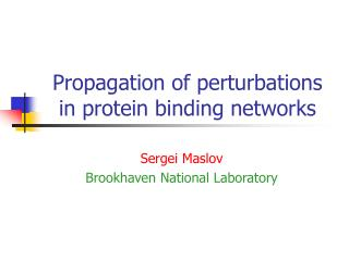 Propagation of perturbations  in protein binding networks