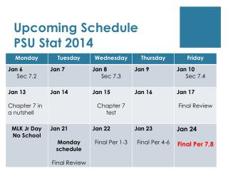 Upcoming Schedule PSU Stat 2014