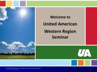 Welcome to United American Western Region Seminar