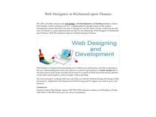 Web Designers in Richmond upon Thames