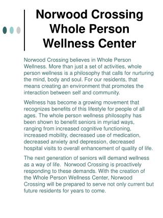 Norwood Crossing  Whole Person  Wellness Center