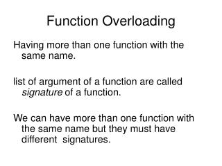 Function Overloading