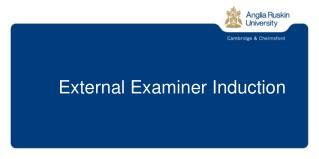External Examiner Indu ction