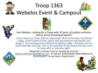 Troop 1363 Webelos Event & Campout