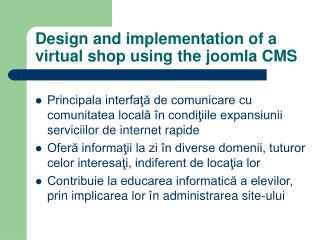 Design and implementation of a virtual shop using the joomla CMS