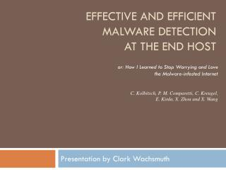 Effective and efficient malware detection  at the end host