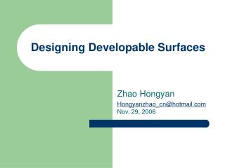 Designing Developable Surfaces