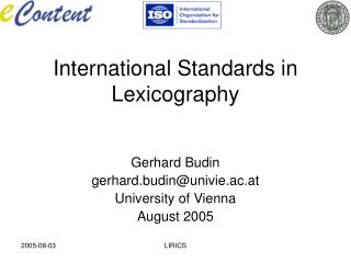 International Standards in Lexicography