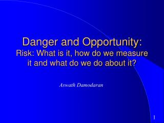Danger and Opportunity: Risk: What is it, how do we measure it and what do we do about it?