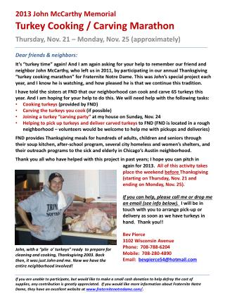 2013  John McCarthy Memorial  Turkey Cooking / Carving Marathon
