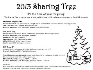 2013 Sharing Tree It's  the time of year for giving!