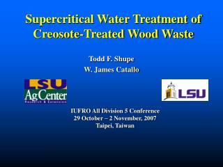 Supercritical Water Treatment of Creosote-Treated Wood Waste