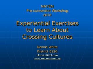 NAYEN  Pre-convention Workshop  2013