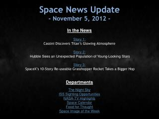 Space News Update - November 5, 2012 -