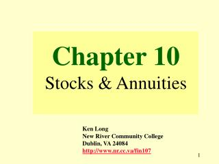Chapter 10 Stocks & Annuities