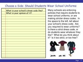 Choose a Side: Should Students Wear School Uniforms