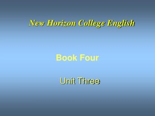 New Horizon College English