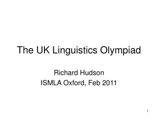 The UK Linguistics Olympiad