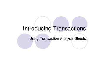 Introducing Transactions