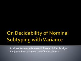 On Decidability of Nominal  Subtyping  with Variance
