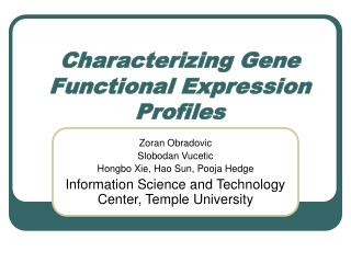 Characterizing Gene Functional Expression Profiles