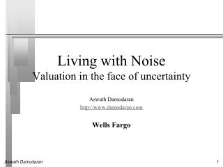 Living with Noise Valuation in the face of uncertainty
