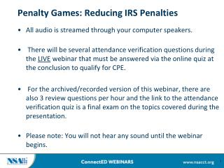 Penalty Games: Reducing IRS Penalties