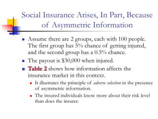 Social Insurance Arises, In Part, Because of Asymmetric Information