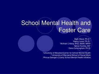 School Mental Health and Foster Care