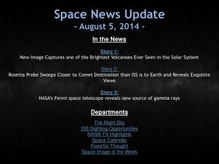 Space News Update - August 5, 2014 -