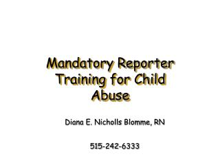 Mandatory Reporter Training for Child Abuse