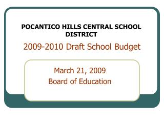 2009-2010 Draft School Budget