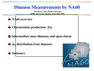 Dimuon Measurements by NA60