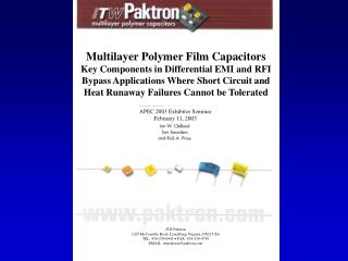 Multilayer Polymer Film Capacitors