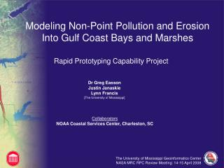 Modeling Non-Point Pollution and Erosion Into Gulf Coast Bays and Marshes