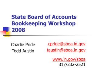 State Board of Accounts Bookkeeping Workshop 2008