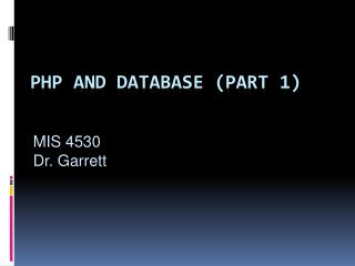 Php  and database (part 1)