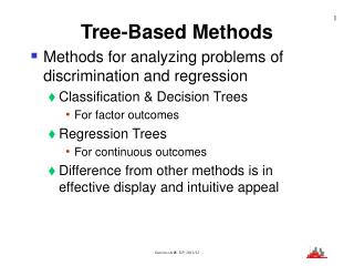 Tree-Based Methods Methods for analyzing problems of discrimination and regression