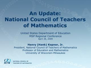 An Update: National Council of Teachers of Mathematics
