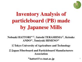 Inventory Analysis of particleboard (PB) made by Japanese Mills