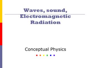 Waves, sound, Electromagnetic Radiation