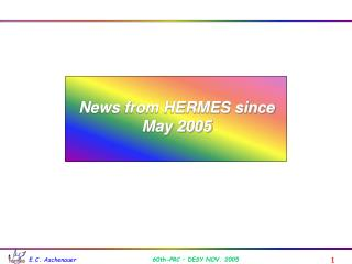 News from HERMES since May 2005