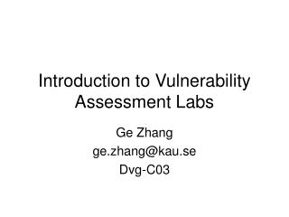 Introduction to Vulnerability Assessment Labs