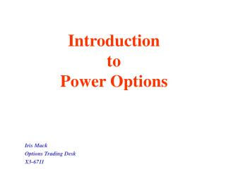 Introduction  to  Power Options